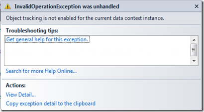 Exception disparada pela falta do ObjectTracking