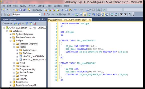 Script que criará as tabelas de exemplo