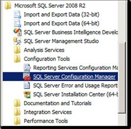 Selecione o SQL Server Configuration Manager