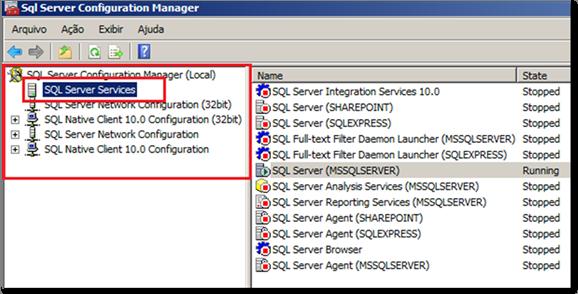 Selecionando o Serviço do SQL Server