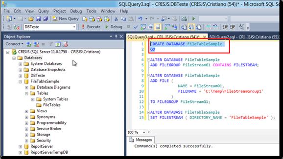 Executando o Script de criação da base de dados