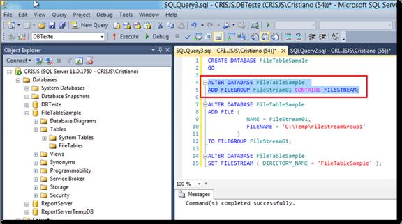Executando o Script de Alteração do Database e adicionando um grupo de arquivos FileStream para  o banco de dados