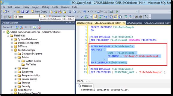 Executando o script que cria o arquivo FileTable