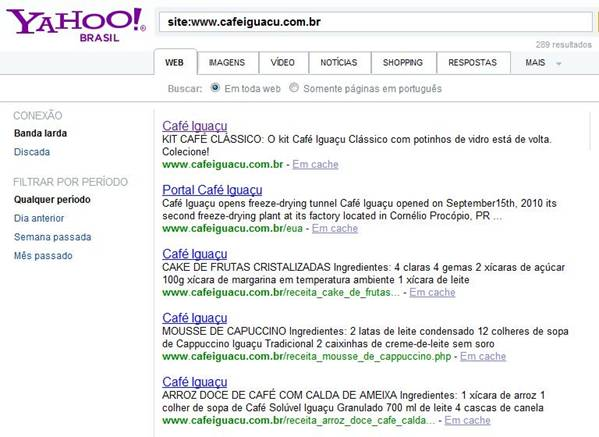 Resultados do Yahoo