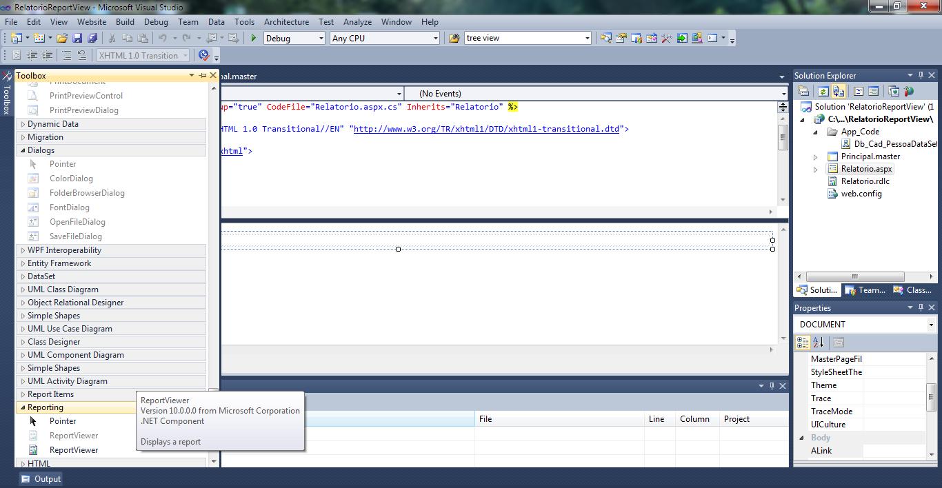 Adicionando um ReportViewer no WebForm