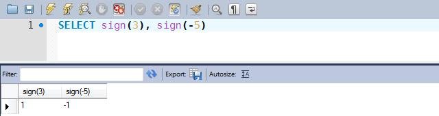 Exemplos de uso da função SIGN
