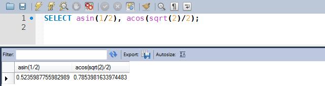 Exemplo de utilização das funções ACOS e ASIN