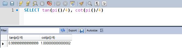 Exemplos de uso das funções TAN e COT
