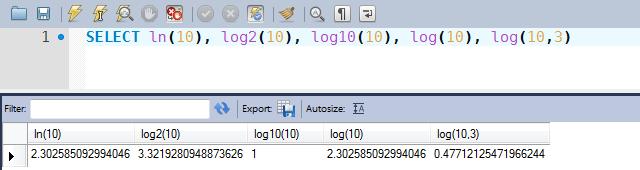 Exemplos de uso das funções LN, LOG2, LOG10 e LOG