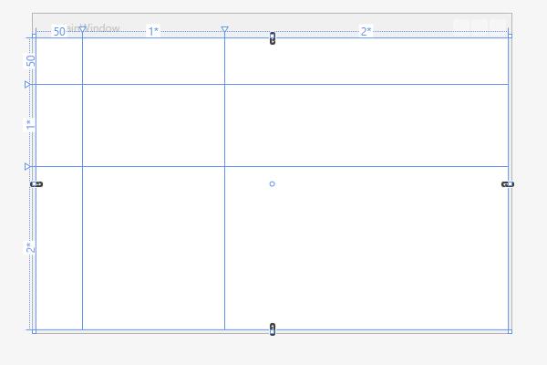 Linhas e colunas com dimensões fixas e relativas