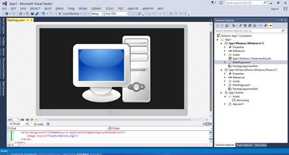 Imagem do projeto Shared referenciada no projeto Windows