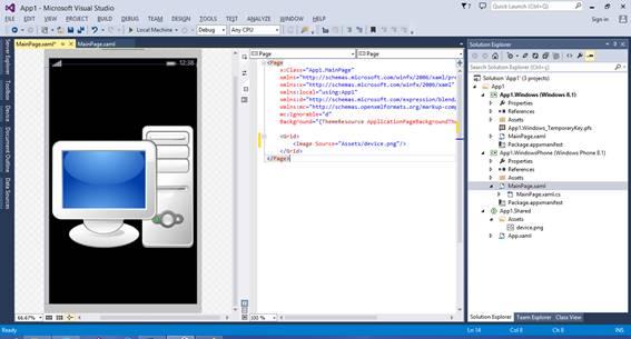 Imagem no projeto Shared referenciada no projeto WindowsPhone