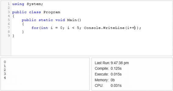 Exemplo de código executado no .NET Fiddle