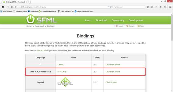 Página de bindings da SFM