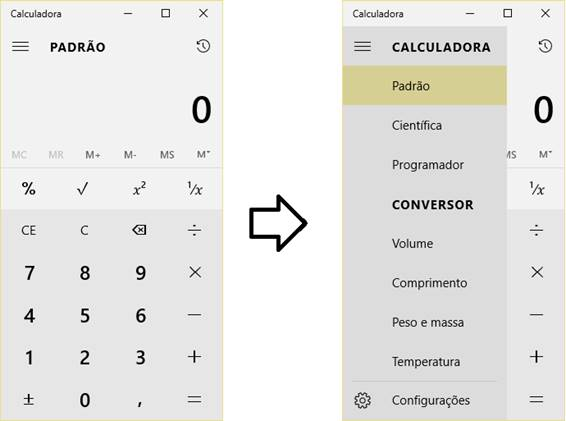 SplitView na calculadora do Windows