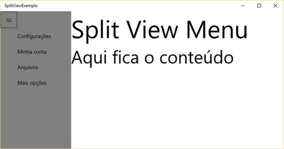 SplitView com DisplayMode CompactInline