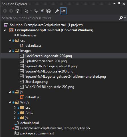 Estrutura do projeto Blank App com JavaScript