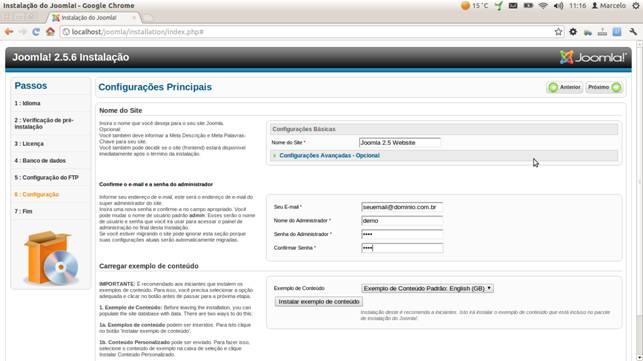 Informações do site e dados para entrar na administração