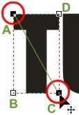 os dois pontos de uma das diagonais