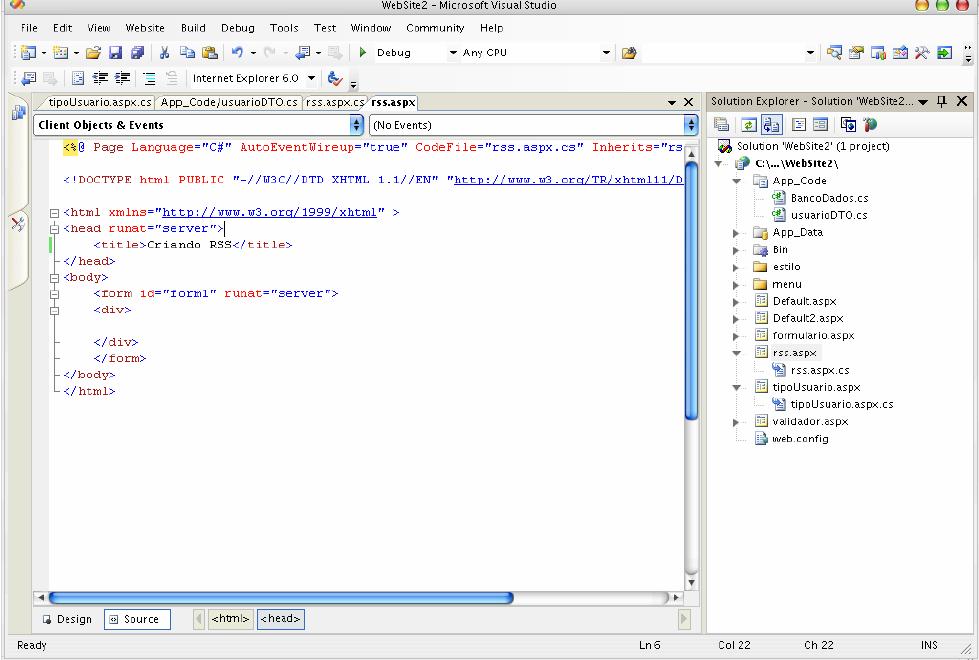 Criando o arquivo .ASPX