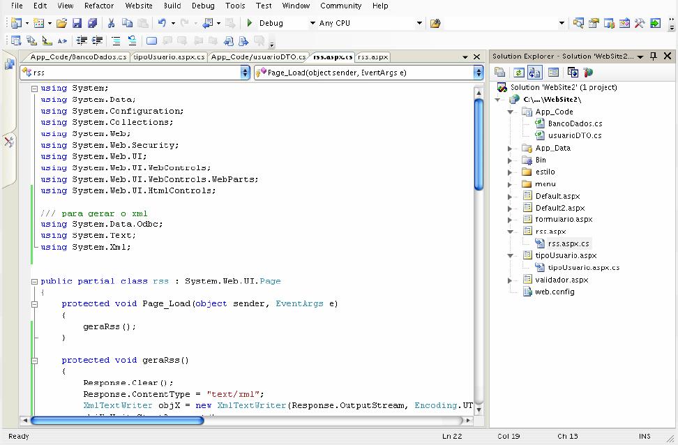 Programando no RSS