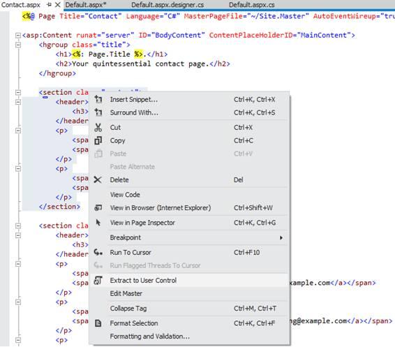 Gerando o arquivo .ascx e referencia na página