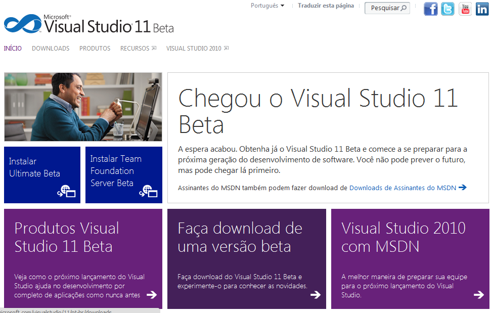 Página web do Visual Studio 11