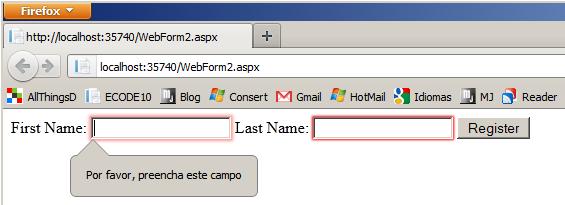 Figura 1 - Teste no Firefox