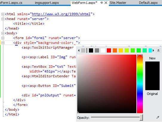 Mudando cores na páginas ASPX