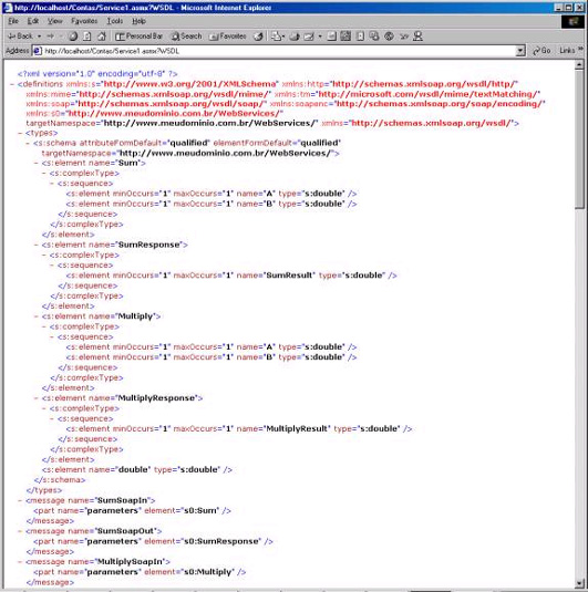 Descrição do serviço como XML
