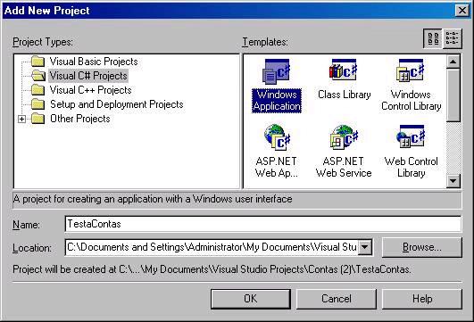 Criando nova aplicação windows