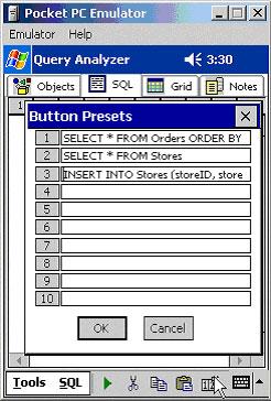 Usando o Preset button para armazenar declarações de SQL statements geralmente usadas