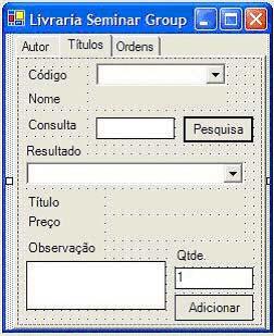 A tabpage Títulos e a tabpage Ordens