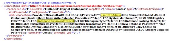 Nome de  usuário e senha expostos  em documento xml de conexão